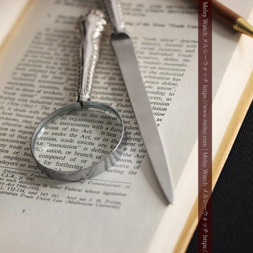 英国の銀製アンティーク虫眼鏡とレターオープナーセット 【1926年頃】-A0305-3