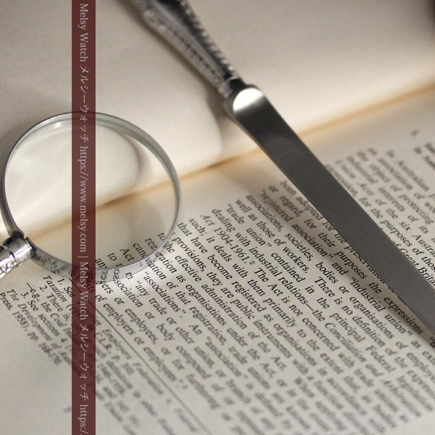 英国の銀製アンティーク虫眼鏡とレターオープナーセット 【1926年頃】-A0305-7