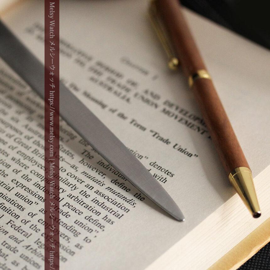 英国の銀製アンティーク虫眼鏡とレターオープナーセット 【1926年頃】-A0305-8