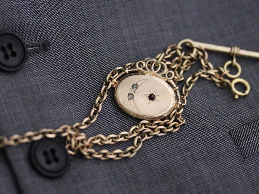 アンティーク懐中時計チェーン-C0430-3