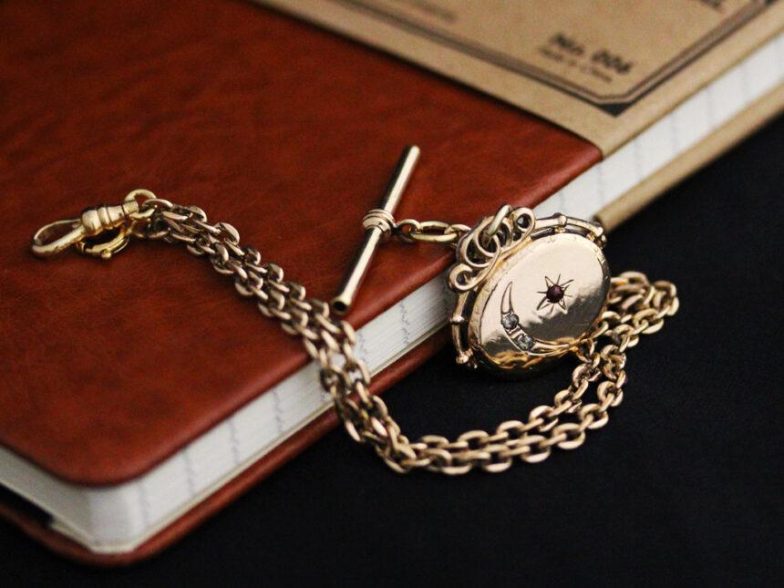 アンティーク懐中時計チェーン-C0430-7