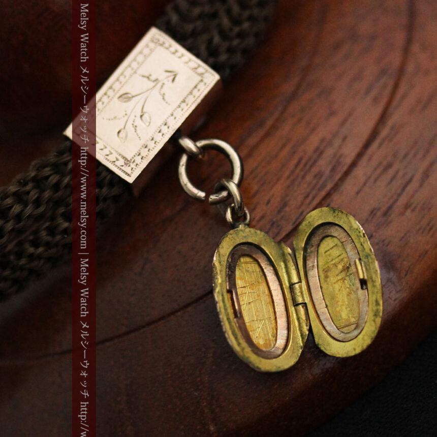 髪の毛で編んだ懐中時計用アンティーク紐-C0446-11