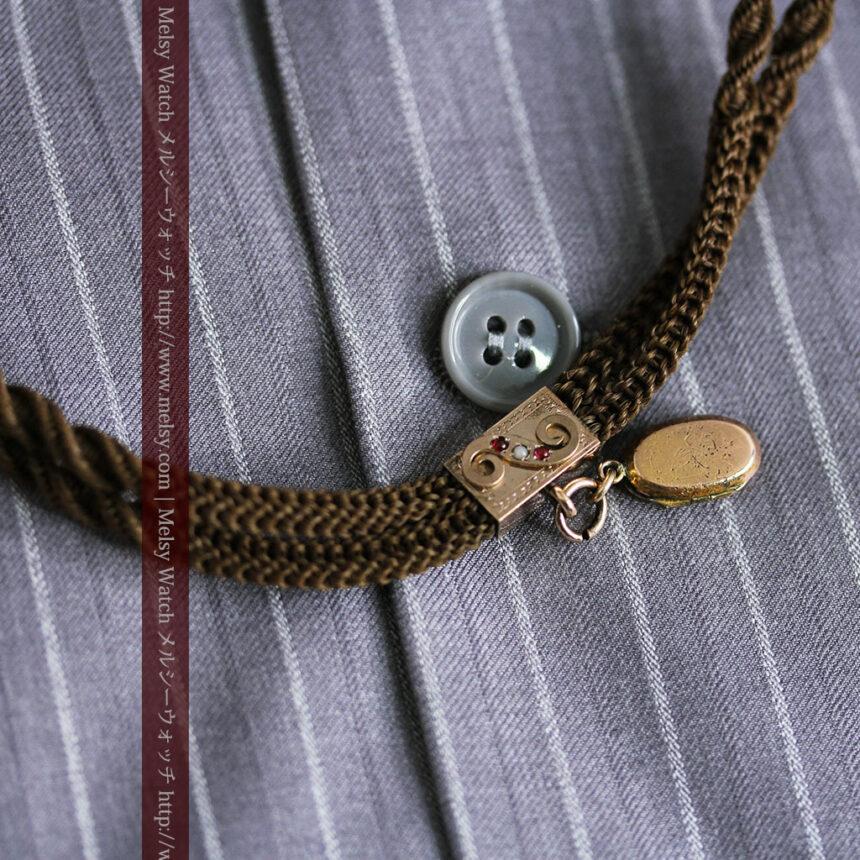 髪の毛で編んだ懐中時計用アンティーク紐-C0446-2