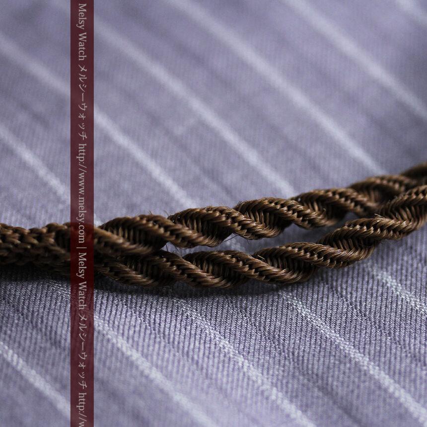 髪の毛で編んだ懐中時計用アンティーク紐-C0446-3