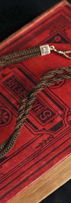 髪の毛で編んだ懐中時計用アンティーク紐-C0446-6