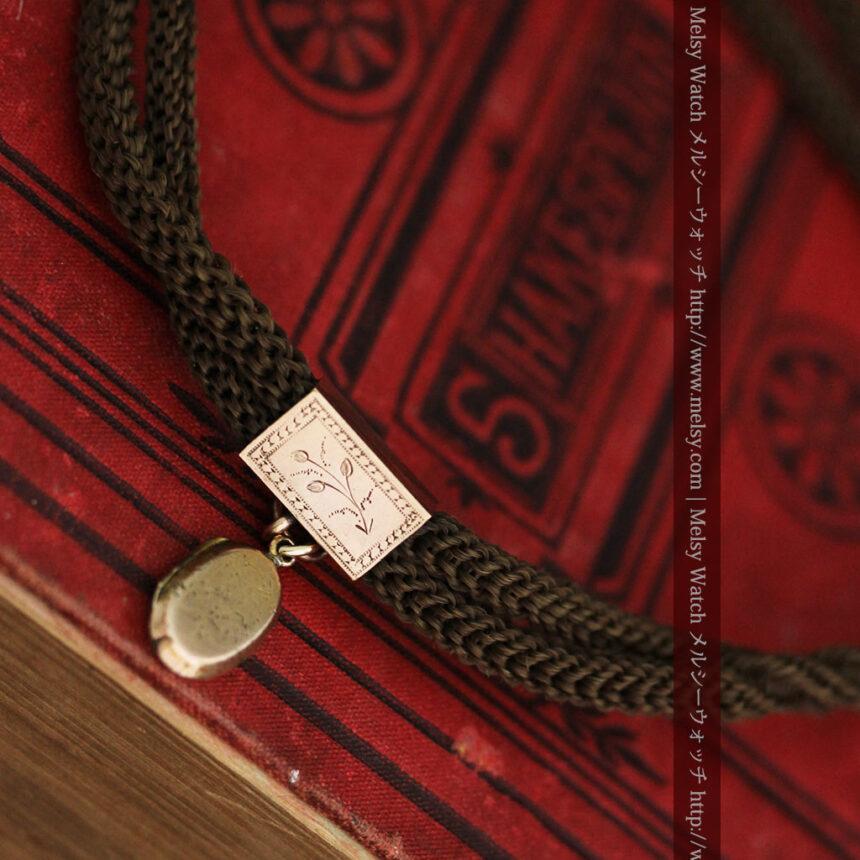 髪の毛で編んだ懐中時計用アンティーク紐-C0446-7