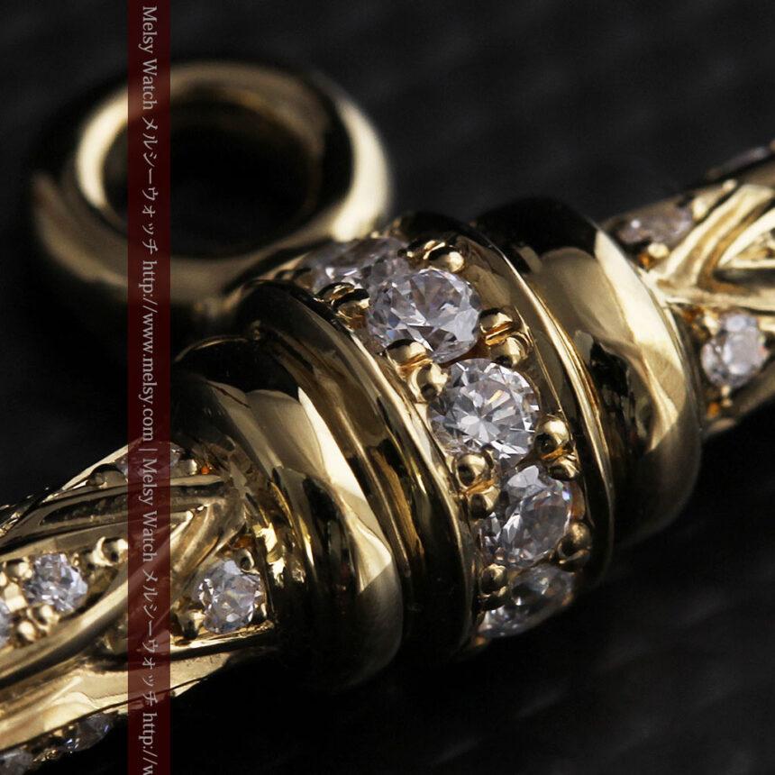 懐中時計チェーン用T字バー・金無垢ダイヤモンド-C0450-10