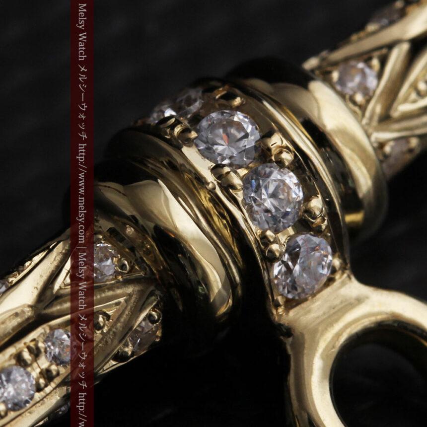 懐中時計チェーン用T字バー・金無垢ダイヤモンド-C0450-11