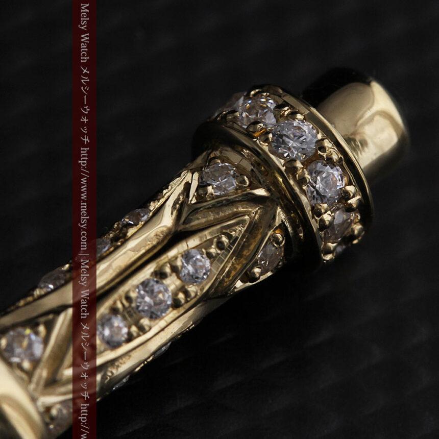 懐中時計チェーン用T字バー・金無垢ダイヤモンド-C0450-12