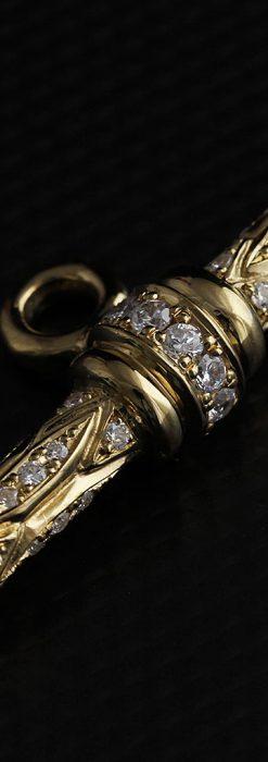 懐中時計チェーン用T字バー・金無垢ダイヤモンド-C0450-3