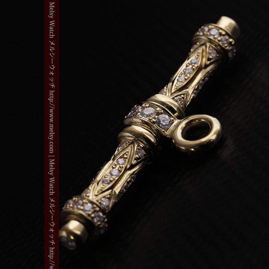 懐中時計チェーン用T字バー・金無垢ダイヤモンド-C0450-4