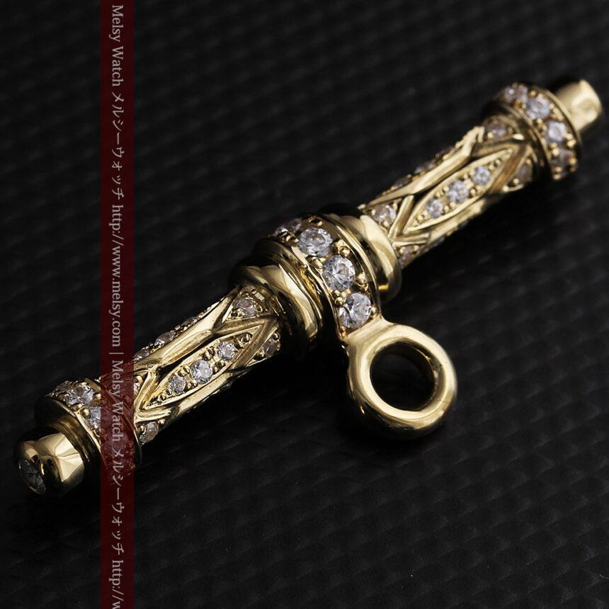 懐中時計チェーン用T字バー・金無垢ダイヤモンド-C0450-7
