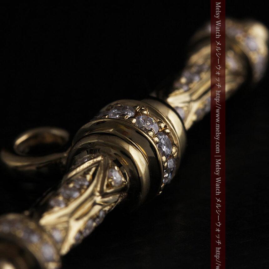 懐中時計チェーン用T字バー・金無垢ダイヤモンド-C0450-9