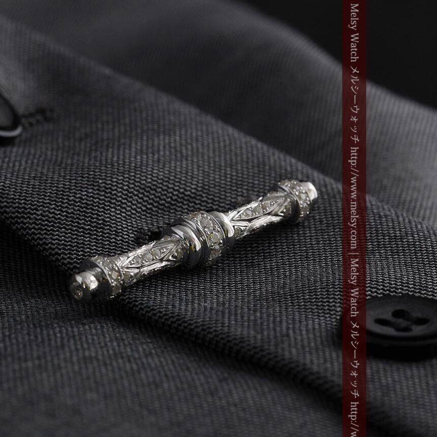 懐中時計チェーン用T字バー・金無垢ダイヤモンド-C0451-1