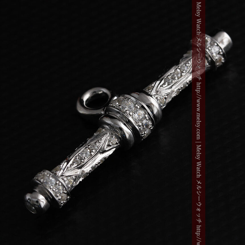 懐中時計チェーン用T字バー・金無垢ダイヤモンド-C0451-3