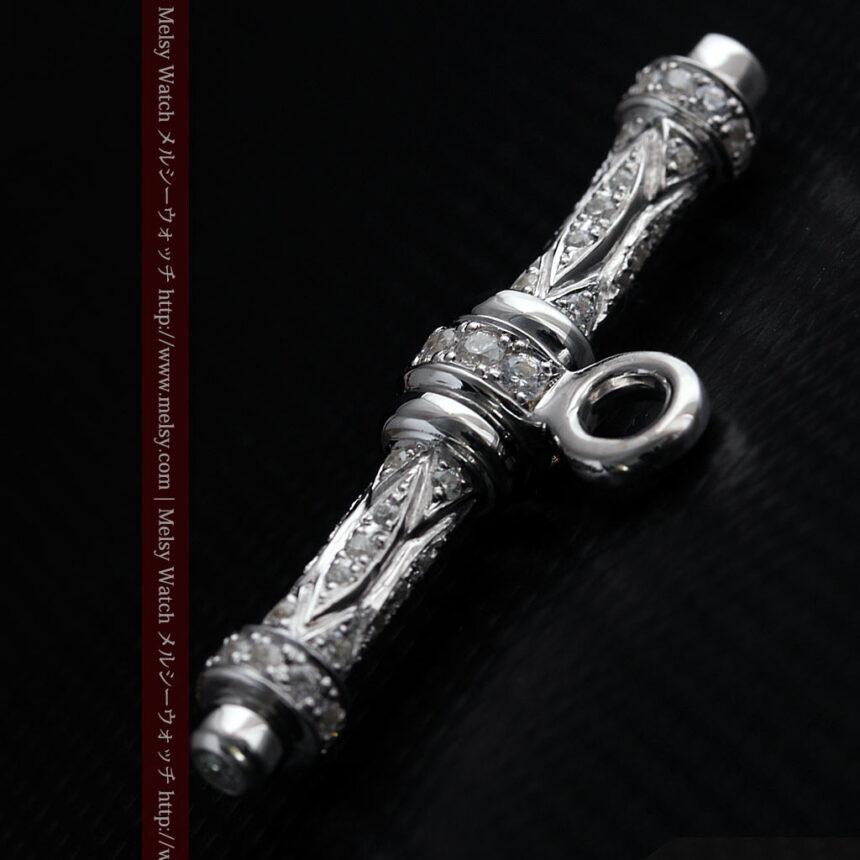 懐中時計チェーン用T字バー・金無垢ダイヤモンド-C0451-4