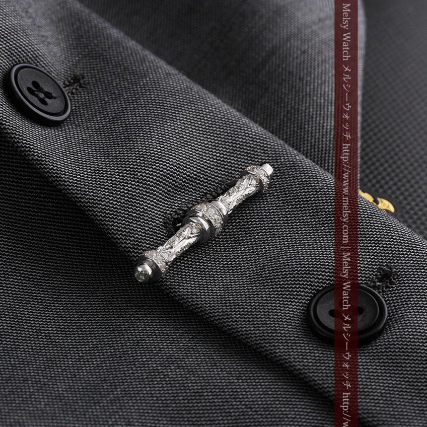 懐中時計チェーン用T字バー・金無垢ダイヤモンド-C0451-6