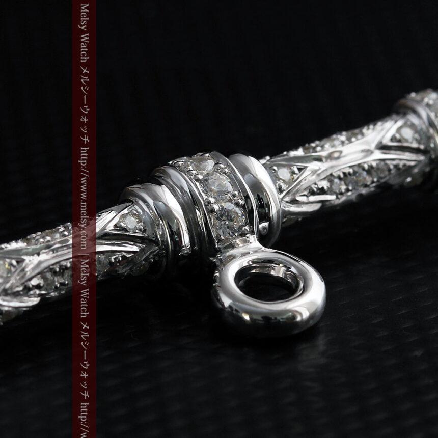 懐中時計チェーン用T字バー・金無垢ダイヤモンド-C0451-8