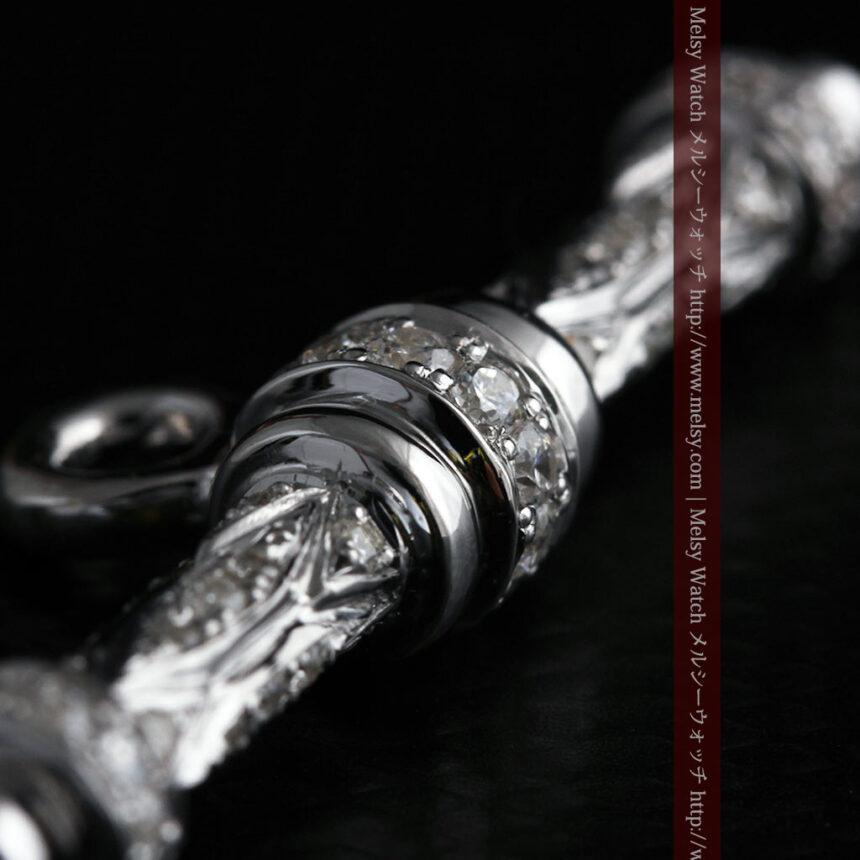 懐中時計チェーン用T字バー・金無垢ダイヤモンド-C0451-9