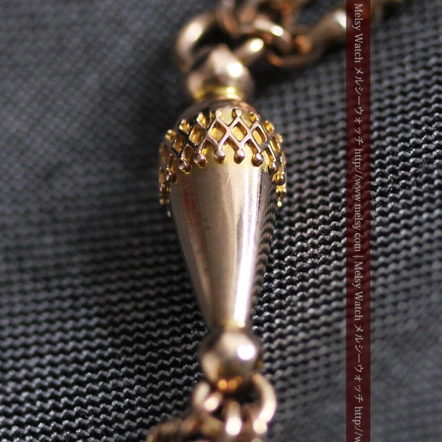 繊細豪華なアンティーク金無垢懐中時計チェーン-C0452-10