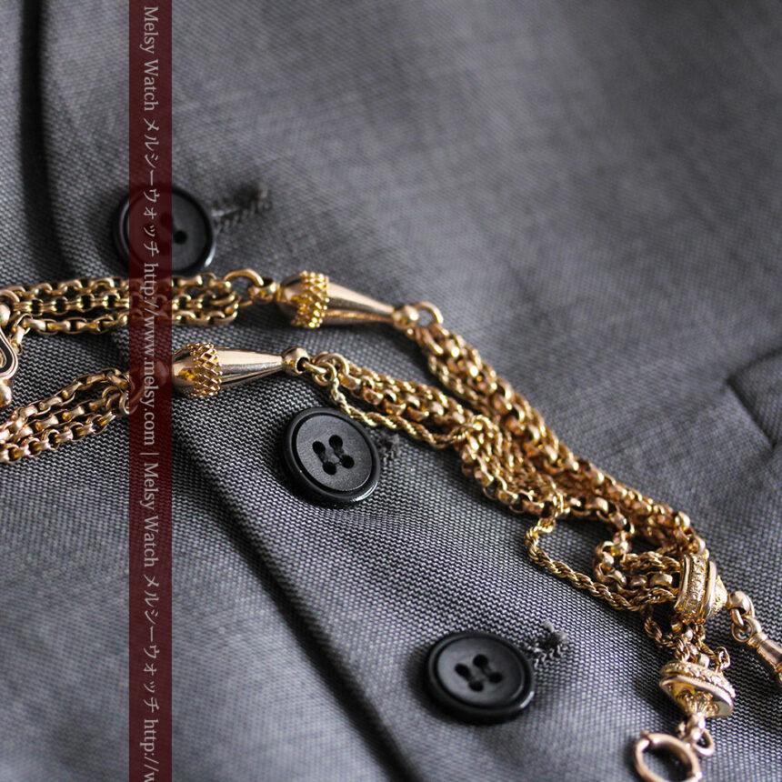 繊細豪華なアンティーク金無垢懐中時計チェーン-C0452-11