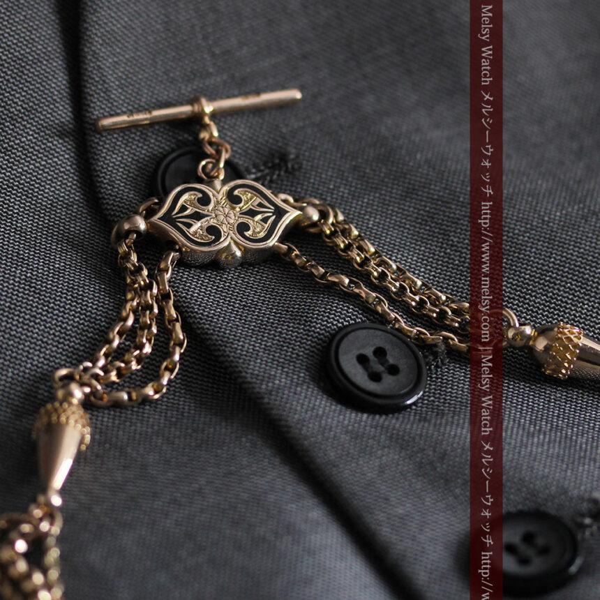 繊細豪華なアンティーク金無垢懐中時計チェーン-C0452-3