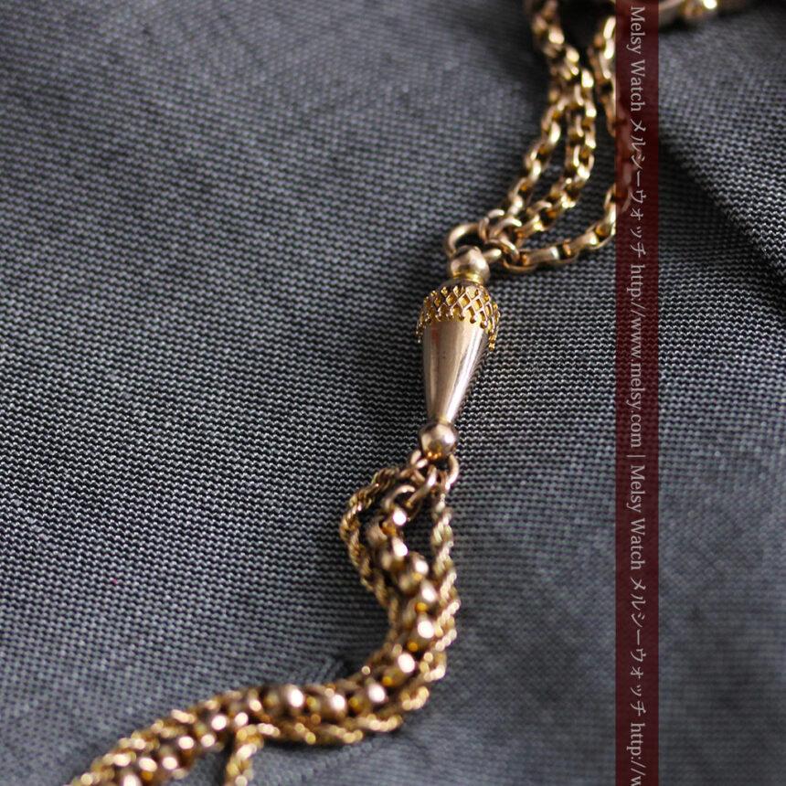 繊細豪華なアンティーク金無垢懐中時計チェーン-C0452-8