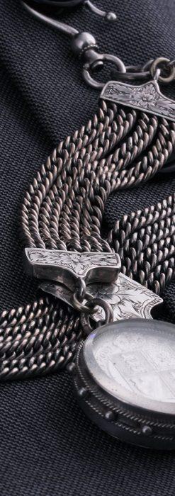 銀無垢アンティーク懐中時計チェーン ビクトリア女王銀貨【1887年頃】-C0453-1