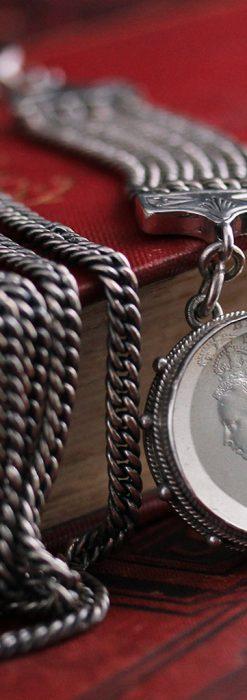 銀無垢アンティーク懐中時計チェーン ビクトリア女王銀貨【1887年頃】-C0453-2