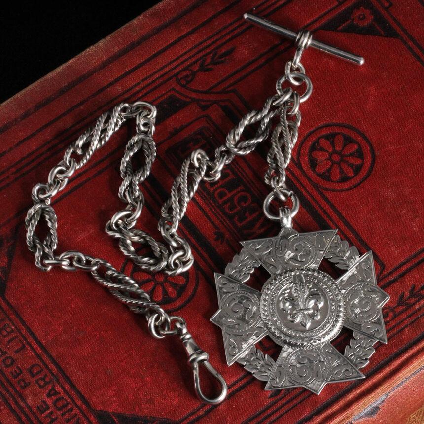 抜群の存在感を誇る特大装飾付き極太銀無垢アンティーク懐中時計チェーン-C0454-12