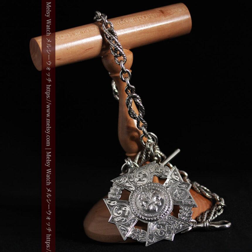 抜群の存在感を誇る特大装飾付き極太銀無垢アンティーク懐中時計チェーン-C0454-13