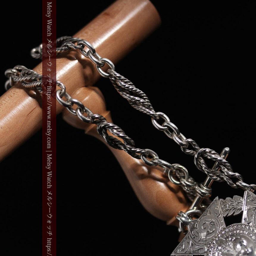 抜群の存在感を誇る特大装飾付き極太銀無垢アンティーク懐中時計チェーン-C0454-14