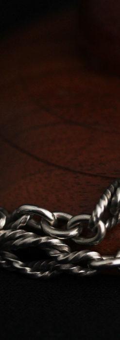 抜群の存在感を誇る特大装飾付き極太銀無垢アンティーク懐中時計チェーン-C0454-16