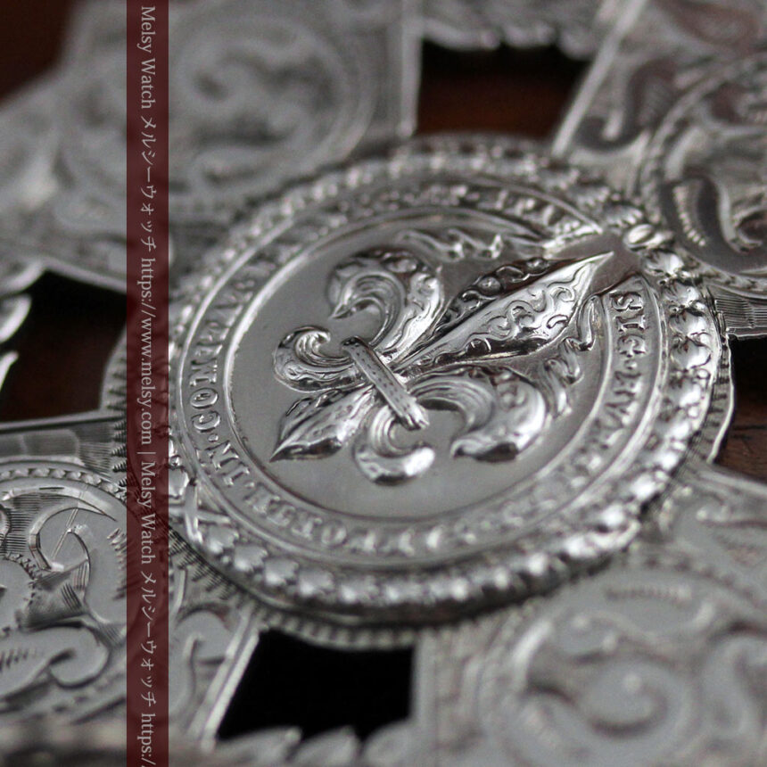 抜群の存在感を誇る特大装飾付き極太銀無垢アンティーク懐中時計チェーン-C0454-18