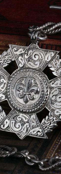 抜群の存在感を誇る特大装飾付き極太銀無垢アンティーク懐中時計チェーン-C0454-3