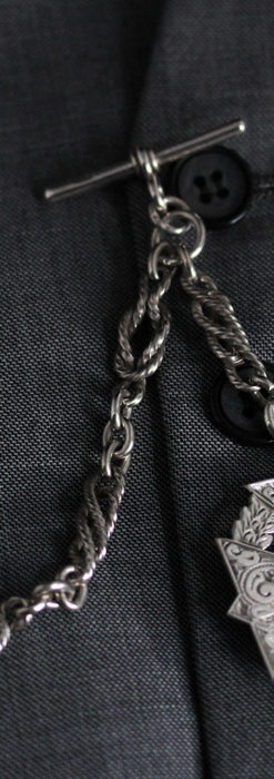 抜群の存在感を誇る特大装飾付き極太銀無垢アンティーク懐中時計チェーン-C0454-4