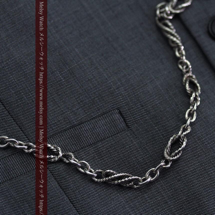 抜群の存在感を誇る特大装飾付き極太銀無垢アンティーク懐中時計チェーン-C0454-5