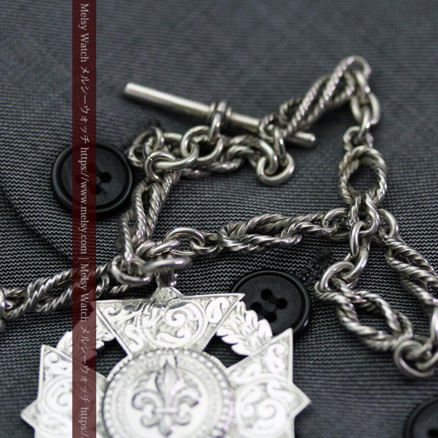 抜群の存在感を誇る特大装飾付き極太銀無垢アンティーク懐中時計チェーン-C0454-6