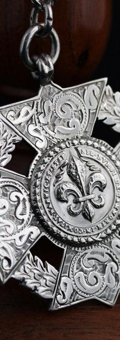 抜群の存在感を誇る特大装飾付き極太銀無垢アンティーク懐中時計チェーン-C0454-7
