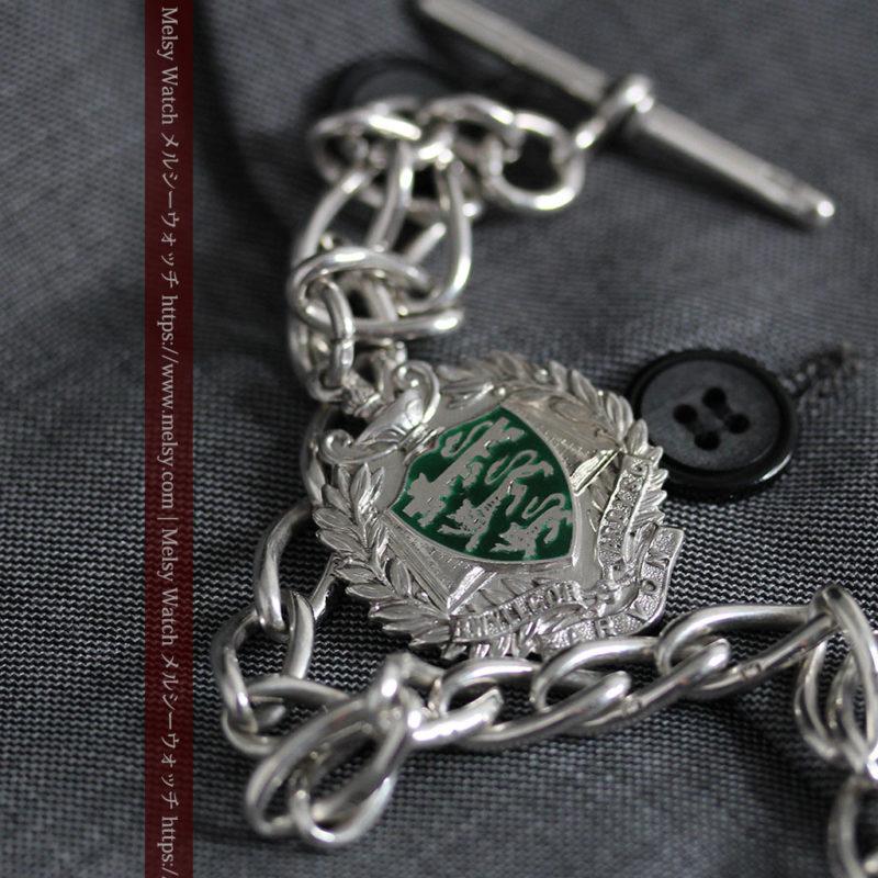 深い緑の獅子の飾りと極太銀無垢アンティーク懐中時計チェーン-C0455-1