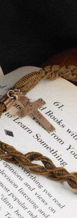 髪の毛で編んだ懐中時計用のアンティーク紐 十字架付き【1900年頃】-C0456-1