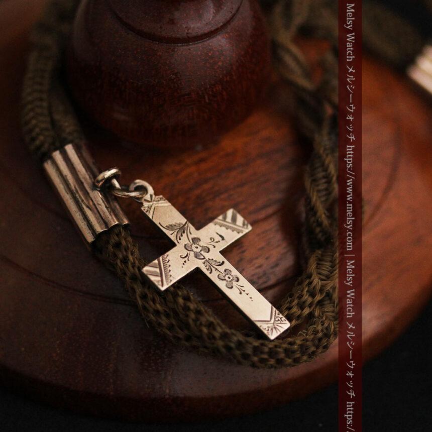 髪の毛で編んだ懐中時計用のアンティーク紐 十字架付き【1900年頃】-C0456-10