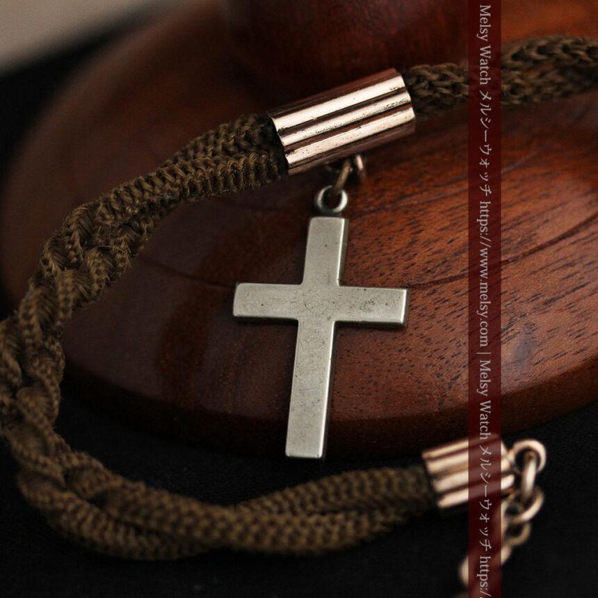 髪の毛で編んだ懐中時計用のアンティーク紐 十字架付き【1900年頃】-C0456-11