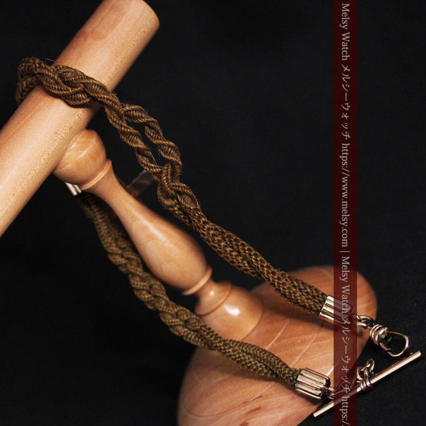 髪の毛で編んだ懐中時計用のアンティーク紐 十字架付き【1900年頃】-C0456-12