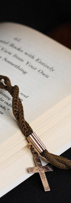髪の毛で編んだ懐中時計用のアンティーク紐 十字架付き【1900年頃】-C0456-2