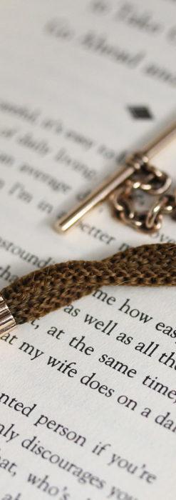 髪の毛で編んだ懐中時計用のアンティーク紐 十字架付き【1900年頃】-C0456-4