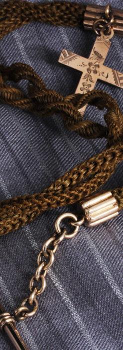 髪の毛で編んだ懐中時計用のアンティーク紐 十字架付き【1900年頃】-C0456-5
