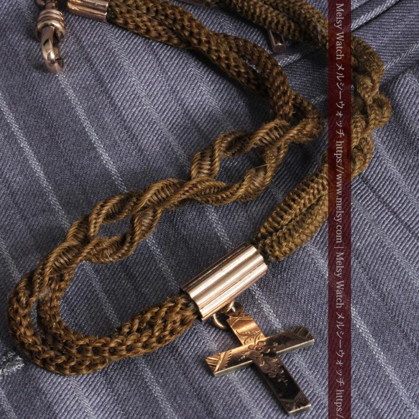 髪の毛で編んだ懐中時計用のアンティーク紐 十字架付き【1900年頃】-C0456-6