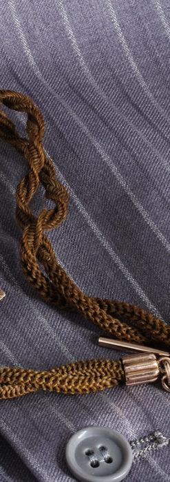 髪の毛で編んだ懐中時計用のアンティーク紐 十字架付き【1900年頃】-C0456-7