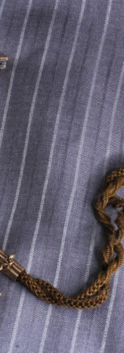 髪の毛で編んだ懐中時計用のアンティーク紐 十字架付き【1900年頃】-C0456-8
